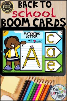 Digital Boom Cards Match the Alphabet -Pencils Literacy Stations, Literacy Skills, Literacy Centers, Kindergarten Readiness, Kindergarten Classroom, Classroom Ideas, Interactive Learning, Fun Learning, Interactive Board