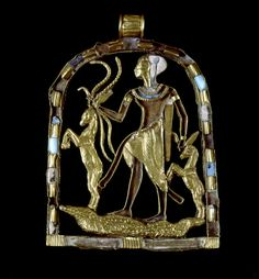 Amulet depicting Shed subduing dangerous animals. Ancient Egypt,  New Kingdom…