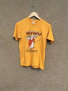 79d1f56dd7824 Vintage 90s Graphic Tshirt ~ Moses Radio Tee Religious Hipster Mustard  Yellow Tee ~ Retro Mens and Women Tshirt