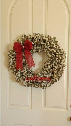 Chevron burlap wreath by Audrey Rose