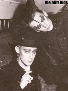 Boy George with a guy at the Blitz Club, 1979