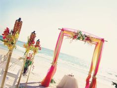 #yellow #hot pink #orange beach wedding
