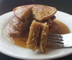 Two ingredient fluffy plantain pancakes! 1 egg per plantain. That's it! Yum. The need to be cooked slow on low!