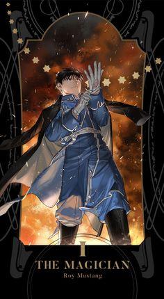 I - The Magician: Roy Mustang, Fullmetal Alchemist Brotherhood Tarot Cards Fullmetal Alchemist Brotherhood, Fullmetal Alchemist Mustang, Fullmetal Alchemist Alphonse, Manga Anime, Fanarts Anime, Anime Characters, Anime Art, Fictional Characters, Roy Mustang