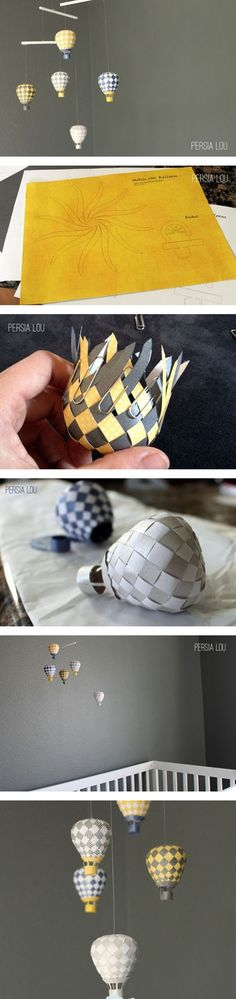 I am fascinated... MUST TRY. DIY mini hot air balloon paper figures.