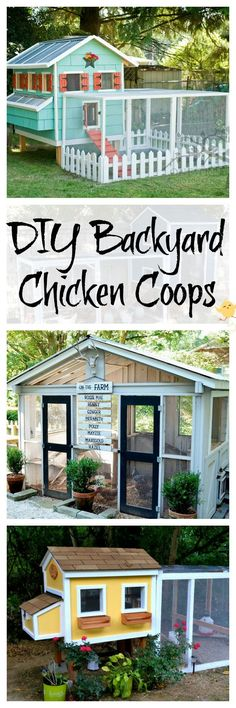 Tutorials and instructions for building your own DIY chicken coop in your backyard. Chicken Coop Garden, Diy Chicken Coop Plans, Pallet Chicken Coops, Chicken Coop Building Plans, Pallet Coop, Chicken Fence, Urban Chicken Coop, Cute Chicken Coops, Chicken Coup