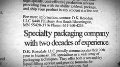 Bloomington MN Warehouse Space Tenant D.K. Rosedale Celebrates 20 Years in Business...video...