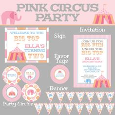 Pink and Orange Circus Elephant Mini Birthday by PartySoPerfect, $15.00... somehow combine circus/pool party theme