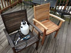 The Jolly Whale: Make Wooden Patio Furniture Look Brand New! Outdoor Chairs, Outdoor Furniture, Outdoor Decor, Wooden Patios, Sun Lounger, Man Cave, Whale, Projects, Boat