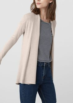 Ribbed lapel cardigan - Cardigans and sweaters for Woman | MANGO USA