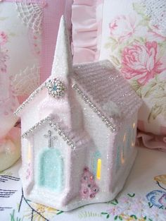 Use small Christmas house from Dollar Tree--- Pink Glitter Rhinestone Church Christmas Past, Pink Christmas, Christmas Projects, All Things Christmas, Beautiful Christmas, Holiday Crafts, Vintage Christmas, Christmas Holidays, Christmas Decorations