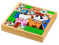 Farm building blocks. A Fair Trade product from Lanka Kade. Made from rubber wood in Sri Lanka. Not suitable for children under 12 months, due to size and shape of pieces. Play age 18 months +. Traditional building blocks with a modern twist. 49 blocks per set.