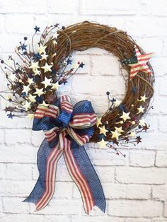 Patriotic Wreath, Americana Wreath,  Rustic Red White and Blue Wreath, Memorial Day Wreath, July 4th Wreath, Grapevine Patriotic