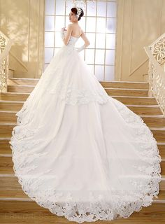 Gorgeous Sweetheart Applique Beading Cathedral Train Wedding Dress Wedding Dresses 2015- ericdress.com 11153427