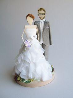 noivinhos bolo casamento; papel; origami http://concarta.blogspot.com.br/