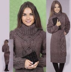 Очень теплое вязаное платье (Вязание спицами)