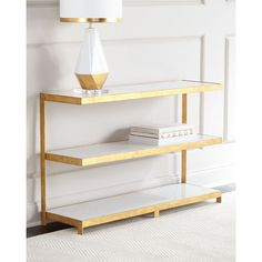 Arteriors Seymour Golden Console (7.770 BRL) ❤ liked on Polyvore featuring home, furniture, storage & shelves, sideboards, gold, cantilever shelving, cantilever shelf, colored furniture, 2 tier shelf and arteriors furniture