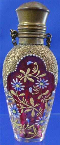 Antique Chatelaine Red Enamel Painted Perfume Scent Bottle | eBay