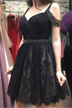 Fashion Straps Black Lace Beadings Short Prom Dresses Homecoming Dress Party Gowns LD461