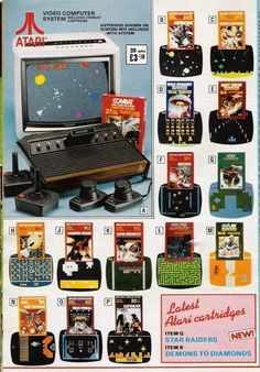 From a spring/summer 1983 mail order catalogue. I owned a number of these Atari 2600 games. As crude and low-resolution as the games were, they could still keep you entertained for hours. Video Vintage, Vintage Video Games, Classic Video Games, Retro Video Games, Vintage Games, Vintage Toys, Retro Ads, Retro Vintage, Vintage Advertisements