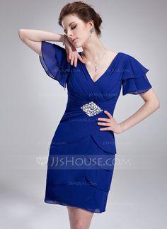Cocktail Dresses - $123.99 - A-Line/Princess V-neck Knee-Length Chiffon Cocktail Dress With Ruffle Beading Sequins (016021248) http://jjshouse.com/A-Line-Princess-V-Neck-Knee-Length-Chiffon-Cocktail-Dress-With-Ruffle-Beading-Sequ