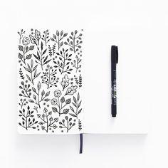 Bullet journal doodle idea, plant doodles, flower doodles. @archerandolive