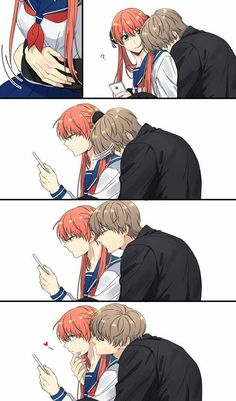 Manga Couple Okita Sougo х Kagura / Сого х Кагура Kawaii Anime, Anime Cupples, Cute Couple Comics, Cute Comics, Anime Couples Drawings, Anime Couples Manga, Manga Couple, Anime Love Couple, Anime Comics