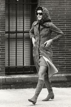Jackie Kennedy:  Outside Collegiate School in New York City, January 22, 1971.