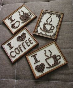 diy projekte 16 Stunning Coffee Bean Crafts For Co - Coffee Bean Decor, Coffee Bean Candle, Coffee Bean Art, Coffee Crafts, Coffee Beans, Diy And Crafts, Arts And Crafts, Coffee Shop, Coffee Lovers