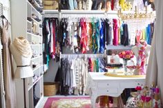 """Day 1 of Closet Cleanout: A Closet Reworked--""""Last year we turned our master bedroom into a large walk-in closet, complete with a customizable IKEA closet system, designated his & hers sides, and everything organized to perfection. """""""