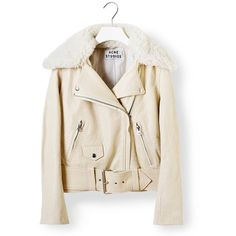 ACNE Mape Cream Jacket (18,455 MXN) ❤ liked on Polyvore featuring outerwear, jackets, tops, pink zip jacket, cream jacket, belted jacket, acne studios and pink jacket