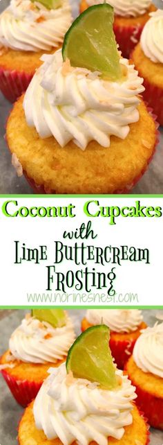 Light and Moist Coconut Cupcakes topped with a luscious whipped Lime Buttercream! So good they melt in your mouth!