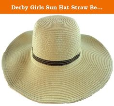 Derby Girls Sun Hat Straw Beach Fashion Style (Tan). These hats are on size fits most for kids ages 3 - 12 suggested. The shape of them can easily be changed to block the sun as needed. Great look and good quality made these a great deal. Many colors are available.