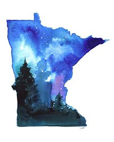 Minnesota State Watercolor by Jessica Durrant Contemporay...