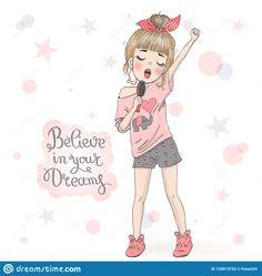 Little Girl Illustrations, Cute Girl Illustration, Children's Book Illustration, Little Girl Singing, Little Girl Drawing, Petite Fille Qui Chante, Girl Cartoon, Cute Cartoon, Singing Drawing