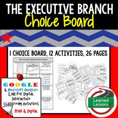 Civics The Executive Branch Choice Board and Activities Paper and Google DriveThis These Executive Branch Activities will cover EVERYTHING you need to plan for an engaging unit in your CIVICS or GOVERNMENT classroom! - BUY IN A BUNDLE-CIVICS MEGA BUNDLE & Interest Groups Bundle-Executive Branch BUNDLE-VISIT MY STORE AND FOLLOW TO GET UPDATES WHEN NEW RESOURCES ARE ADDED This product includes 1 Choice Board with 12 activities to take you through the entire unit. Anchor Activities, Writing Activities, Classroom Activities, Classroom Ideas, Future Classroom, Government Lessons, Teaching Government, Secondary Resources, Social Studies Resources