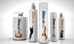 Cute dog care product line with dogs interacting with the logo.