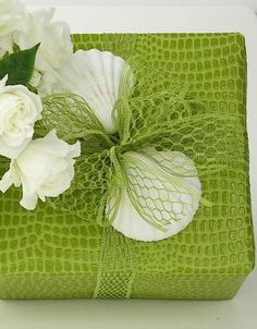 """chasingrainbowsforever: """" Gift Wrap in Green and White ~ Carolyn Roehm """""""