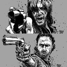 The Walking Dead. Daryl and Rick.