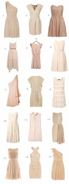 Neutral dresses with chocolate or emerald cardigans
