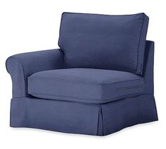 PB Comfort Roll Arm Slipcovered Left Arm Chair, Box Edge Down Blend Wrapped Cushions, Linen Blend Peacoat Navy