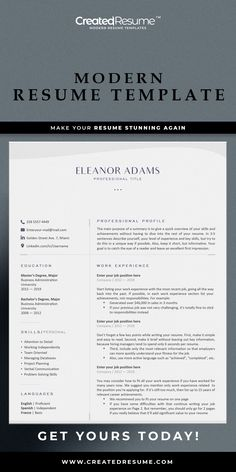 Elegant and professional resume template that will help to get the job of your dreams faster! Easy to customize on Word and Apple Pages. Designed by an experienced CreatedResume team these resume templates will catch an eye and help you outstand from the others. #resume #resumetemplate #modernresume #resumeformat #resumedesign #resumetips #createdresume #cv #cvtemplate Basic Resume, Professional Resume, Modern Resume Template, Resume Templates, Microsoft Word 2007, Good Resume Examples, How To Memorize Things, Things To Sell, Wish You The Best