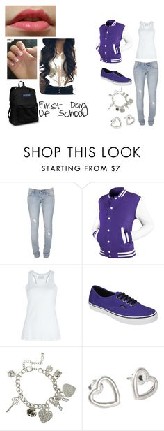 """""""First day of school"""" by cheska14 ❤ liked on Polyvore featuring Cheap Monday, Vans, Wet Seal, Fat Face, JanSport, skinny jeans, backpacks, jacket, pink lip gloss and tank top"""