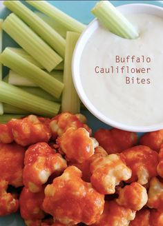 Spicy Buffalo Cauliflower Bites [RECIPE] without buttermilk // a bunch of healthy recipes here