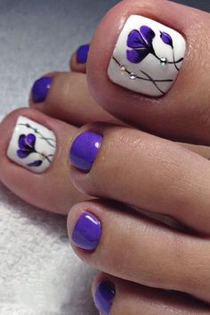 The Fundamentals of Toe Nail Designs Revealed Nail art is a revolution in the area of home services. Nail art is a fundamental portion of a manicure regimen. If you're using any form of nail art on your nails, you… Continue Reading → Pretty Toe Nails, Cute Toe Nails, Fancy Nails, Toe Nail Art, Gorgeous Nails, My Nails, Purple Toe Nails, Purple Toes, Beach Toe Nails