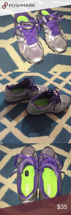 Nike Air Max Fitsole Metallic Silver and Purple Air Max! Unique and girly. Ready for the taken!! ;) in good used condition. Nike Shoes Athletic Shoes
