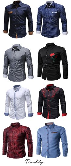 11754fafdad4f Men s Casual Fashion Solid Color Long Sleeve Shirt.Extra 12% off code DL123   dresslily