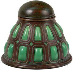 Tiffany - Encrier - Bronze et Verre Soufflé - Vert - 1900