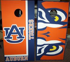 Auburn Tigers hand painted cornhole boards set. All paint, no vinyl decals, no stickers. tailgating, bag toss.