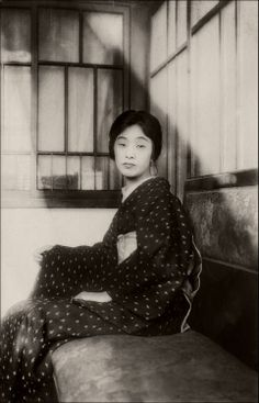 """About 1930's, Japan. Handwritten note on the reverse of the photograph:""""My mother. Taken in my study in July of this year. She is 43 years old and wears the Japanese Kimono."""" Photography by Wolfgang Wiggers on Flickr."""